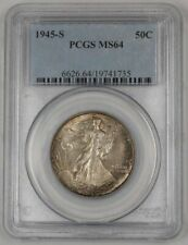 1945-S Walking Liberty Silver Half Dollar Coin 50c PCGS MS-64 Nicely Toned 1D