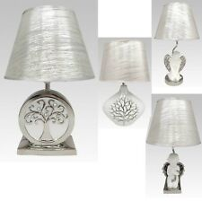 New White Pearlized Tree Of Life Cherub Angel Table Lamp Ceramic With Shades