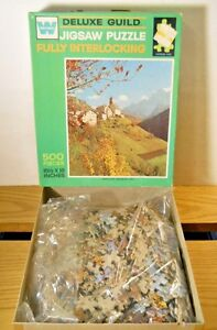 WHITMAN GUILD SANTA LUCIA DOLOMITES ITALY 500 Pc Puzzle Fall Countryside Village
