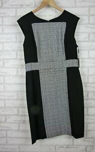 Calvin Klein Pencil Dress Sleeveless Black, Grey Check Print Sz 12 BNWT