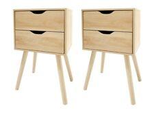 Set of 2 - Natural Oak Look Bedside Unit 2 Drawer Scandi Side Table Pair Bedroom