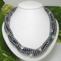 Peacock Roundel F/W Cultured Pearls Triple Twist Necklace Silver 925 Clasps TPJ