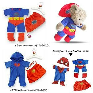 Teddy Bear Clothes Boy Girl Supers Hero Outfit fit Build a Bear Size 20+38 cm