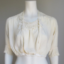 Vintage ANTIQUE Silk EDWARDIAN 1900s Sheer SHIRT Blouse Top Chemise Cropped XS S