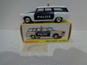 """Ancienne DINKY TOYS France N°1429 """"BREAK PEUGEOT 404 POLICE"""" 1970 1/43 en boite"""