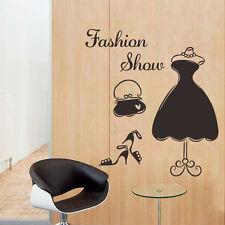 Fashion Show Dress Wall Decal PVC Mural Women Dressing Room Decor Closet Sticker