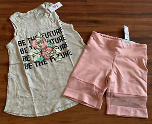 New Justice Girls Size 10 Summer Outfit Rose Tank Top Shirt Biker Active Shorts