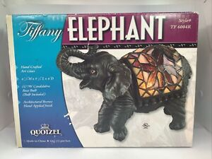Quoizel Sitting Elephant Table Lamp Tiffany Style Stained Glass Working