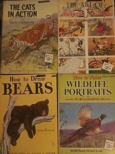Lot of 4 Walter Foster Drawing & Painting Books Cats~Bears~Wildlife~Japan Prints