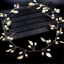 Pearls Gold Leaves Boho Wedding Bridal Headband Bride/Bridesmaid Hair Headdress