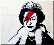 "BANKSY STREET ART *FRAMED* CANVAS PRINT Queen of England `Still Sane' 16""X 12"" -"