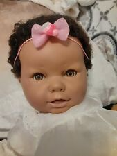 """New ListingBerjusa Sleeping Realistic African American Baby Doll Cloth Body 21"""" Rooted Hair"""