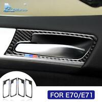 For BMW E70 X5 E71 X6 Carbon Fiber Car Interior Door Handle Cover Trim Sticker