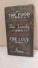 "Large Rustic Wood sign - ""Bless the food before us"" - Farmhouse Kitchen sign"