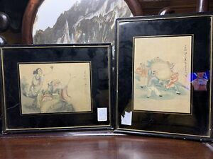 From Old Estate Chinese Antique 2x Scroll Painting It Marked Asian China