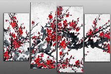 "Extra Grande De 5ft de ancho de flor roja sobre fondo blanco gris floral Lona Arte Oriental 60""x44"