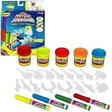 Play-Doh Creations Make and Color Creatures Reusable 16 parts, markers, PD cans+