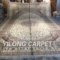 YILONG 12'x18' Persian Handmade Silk Carpet Artwork Collection Home Rug ZW296M