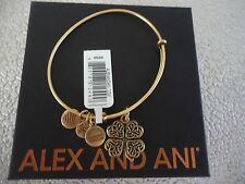ALEX AND ANI Four Leaf Clover IV Russian Gold Charm Bangle New W/ Tag Card & Box