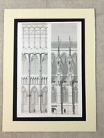 1857 Medieval French Architecture Print Reims Cathedral Facade Stone Masonry