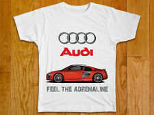 BRAND NEW AUDI R8  UNISEX (MEN / WOMEN) WHITE / BLACK T-SHIRT sz.XXL