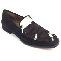 Stuart Weitzman Women's Loafers Cow Print Low Heels Career Black Suede Size 7 M