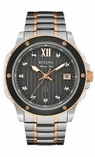Bulova Men's 98D127 Marine Star Diamond Markers Two Tone Black Dial 47mm Watch