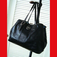 Coach Signature Stitch Patent Leather Frame Carryall Bag 15658 Black