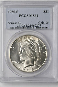 1935-S Peace Dollar - MS 64