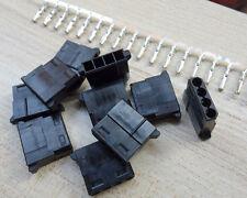 10 sets Black DIY PC Power Connector 4P 4 Pin Female Molex Mod Crimp Plug Pins