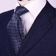 Blue Diamond Matrix Circle Boss Encircle Pattern Woven Neck Tie Formal Business