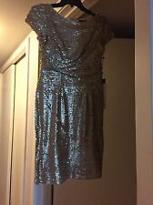 NWT Adrianna Papell Gold Sequin Dress 4P