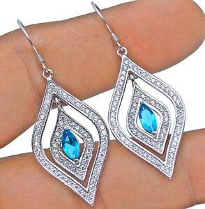 1CT Aquamarine & White Topaz 925 Sterling Silver Earrings Jewelry