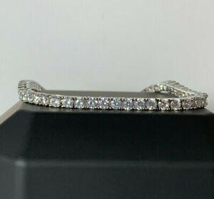 LUXE Men's White Gold Finish Thin Tennis Bracelet With White Created Diamond