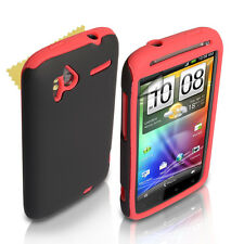 HTC Sensation Quality Red & Black Gel Case Cover Skin + Free Screen Protection
