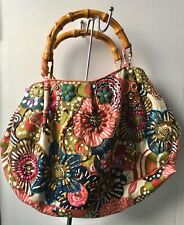 Accessorize Fabric Sequins & Beads Embellished Bamboo Handles Shopping Bag