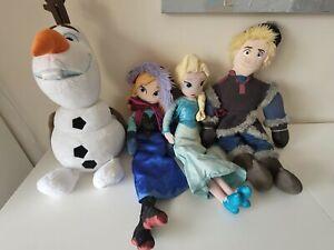 Disney Store Frozen Elsa Anna Olaf & Kristoff Plush Bundle Soft Toy