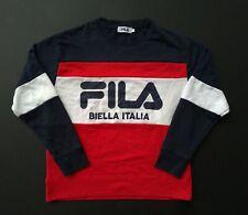 FILA Sweatshirt 80s 90s Vintage Pullover Striped Big Logo Streetwear hip hop