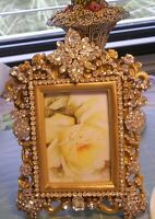 *****LOVELY SPARKLING RHINESTONE PICTURE FRAME VINTAGE JEWELRY ROSE PRINT**
