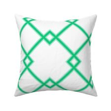 Green Mint Lattice Grid Decor Throw Pillow Cover w Optional Insert by Roostery