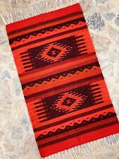 "Zapotec Oaxacan 23""x40"" Hand Woven Diamond Floor Wall Decor Wool Tapestry Rug"