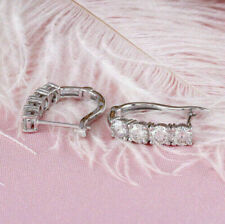 1.35Ct Round Cut VVS1/D Diamond Huggie Hoop Earrings Solid 14K White Gold Finish