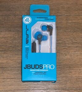 JLab Jbuds Pro Signature Wired Earbuds Headphones with Mic Blue/Gray NEW