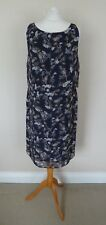 FAB Monsoon Navy Blue Grey Mustard Floral Bird Dragonfly Chiffon Dress Size 12