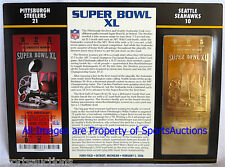 PITTSBURGH STEELERS / SEAHAWKS Willabee Ward 22KT GOLD SUPER BOWL 40 TICKET ~ XL