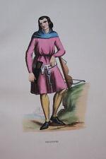 GRAVURE EN COULEURS-ARBALETRIER-COSTUMES MOYEN AGE 1847-ANTIQUE  PRINT