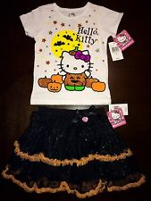 ADORABLE Hello Kitty 2pc Halloween Outfit Set. 4T. Glitter Tutu. NEW $46