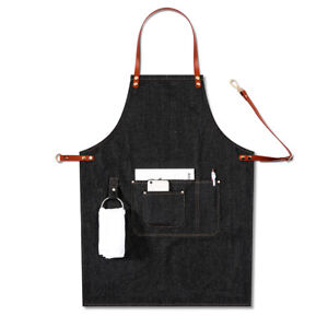 durable  Leather Strap Removable Multi Pocket Baker BBQ Denim Bib Apron Casual