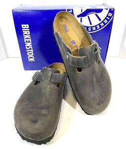 Birkenstock Boston BS Men's Size 11 (EU44)Reg Fit Gray Leather Clogs KC-206
