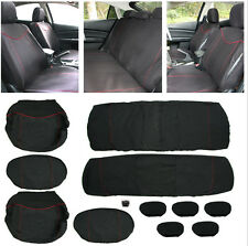 11X Universal Full Seat Cover Set Low Front Back Bottom Set Head Rest Black Red